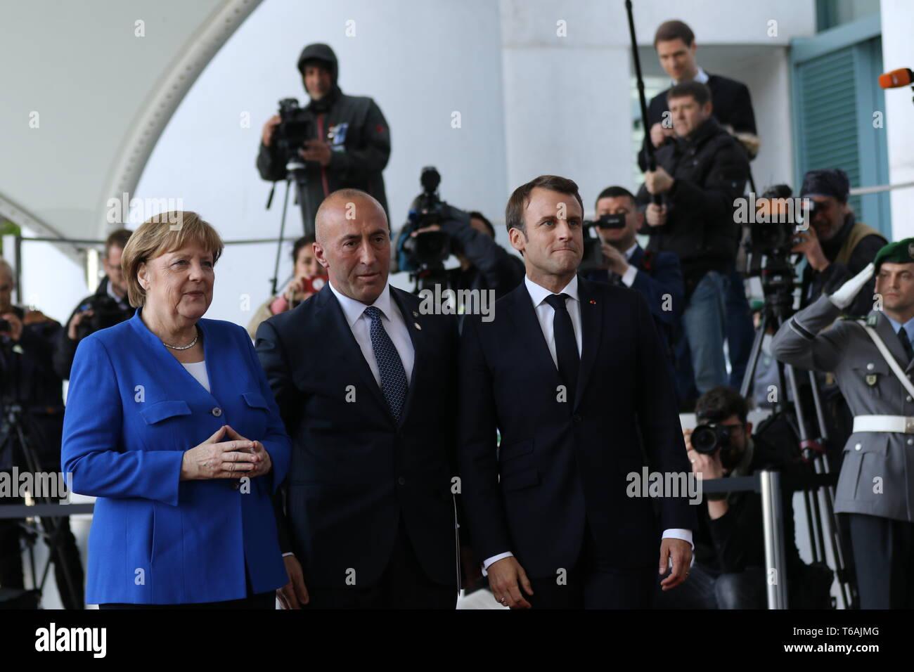 29.04.2019, Berlin, Germany, Chancellor Angela Merkel, President Emmanuel Macron and Prime Minister of Kosovo Ramush Haradinaj in the Chancellery. Cha - Stock Image