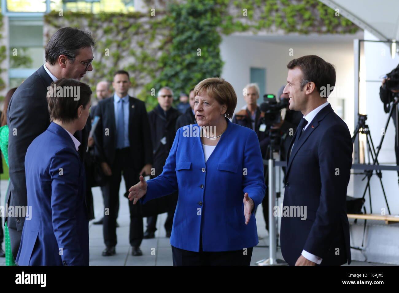 29.04.2019, Berlin, Germany, Chancellor Angela Merkel, Emmanuel Macron, Aleksandar Vucic and Ana Brnabic in the Chancellery. Chancellor Angela Merkel  - Stock Image