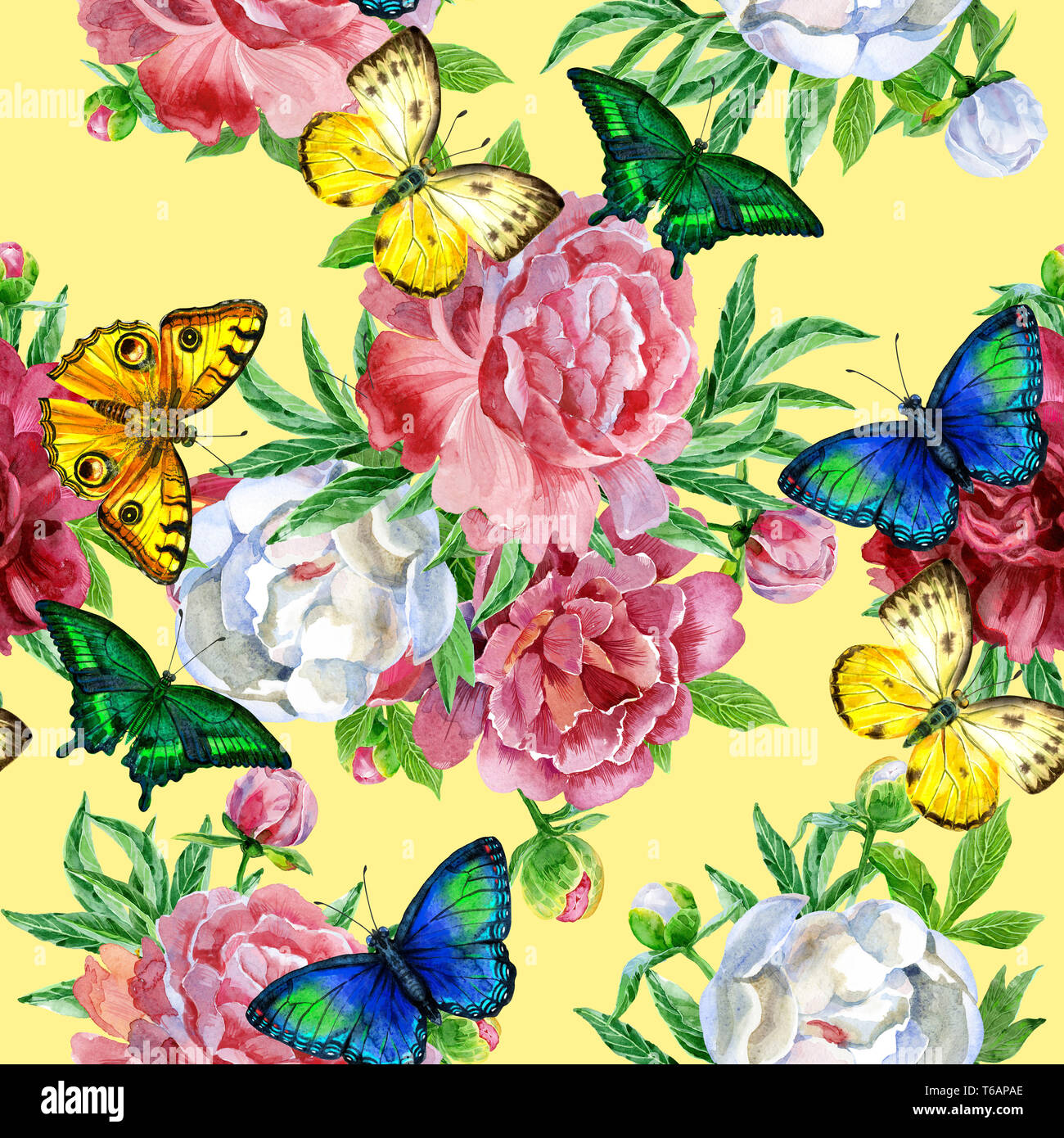Seamless Pattern With Peonies Flowers And Butterflies Modern