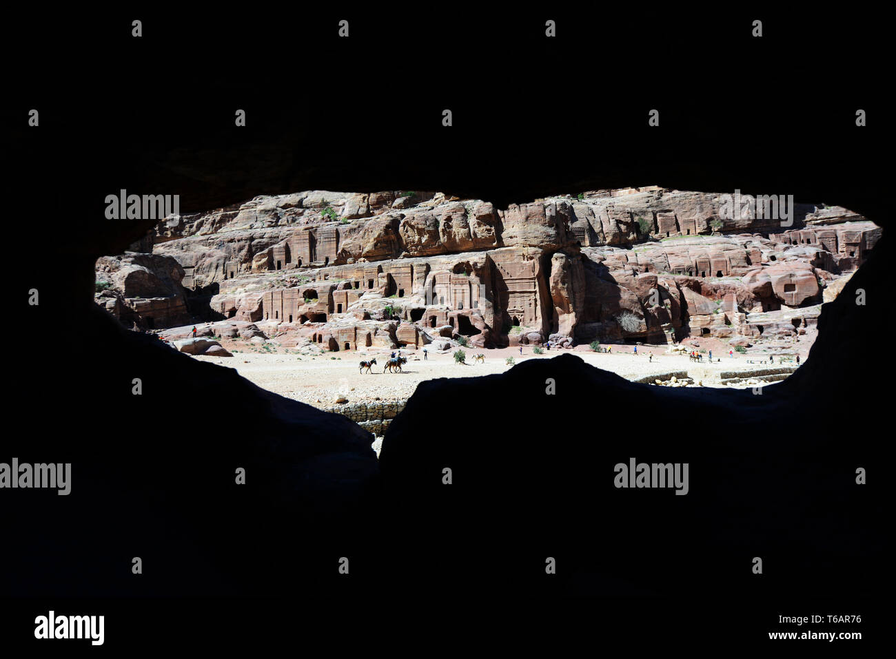 A view of the Royal tombs in Petra, Jordan. Stock Photo