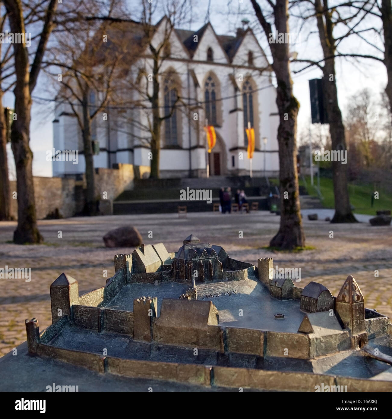 Model Castle Square and Church of the Holy Cross, Oelde-Stromberg North Rhine-Westphalia, Germany - Stock Image