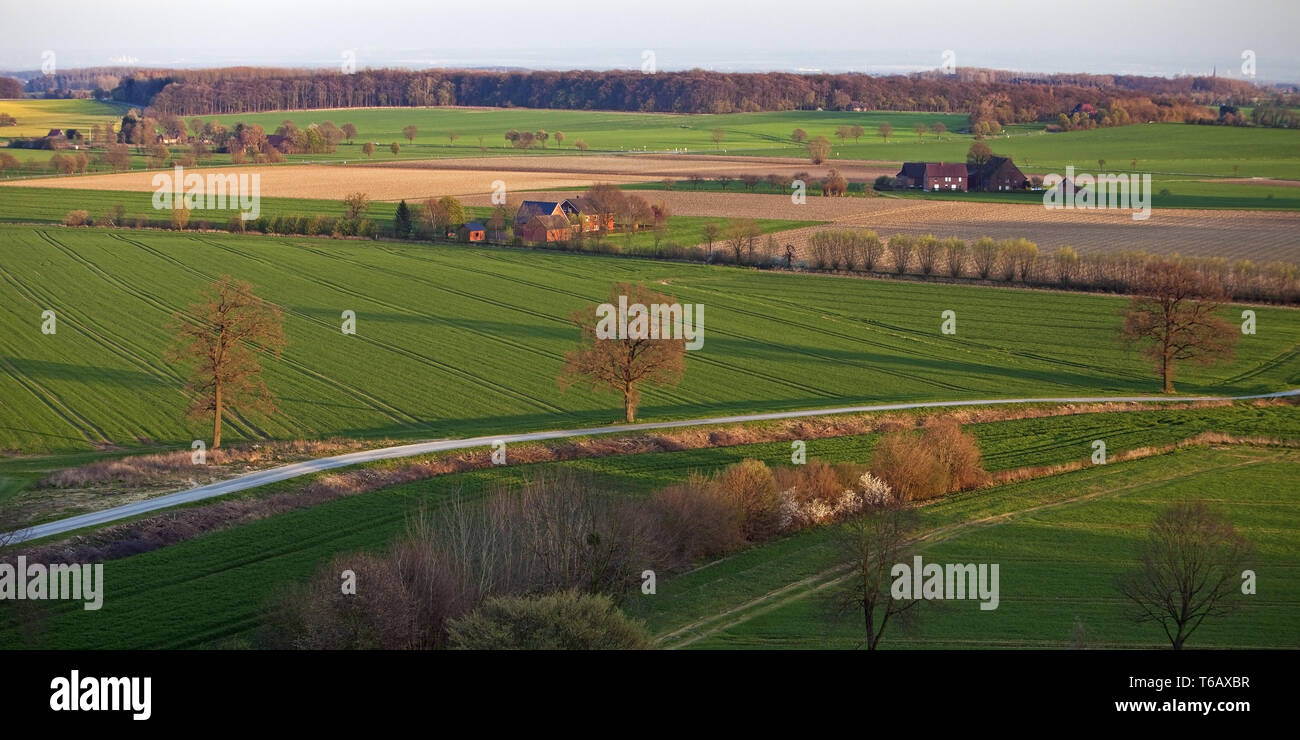 landscape with farmhouse, view from Burgberg, Oelde-Stromberg, North Rhine-Westphalia, Germany - Stock Image