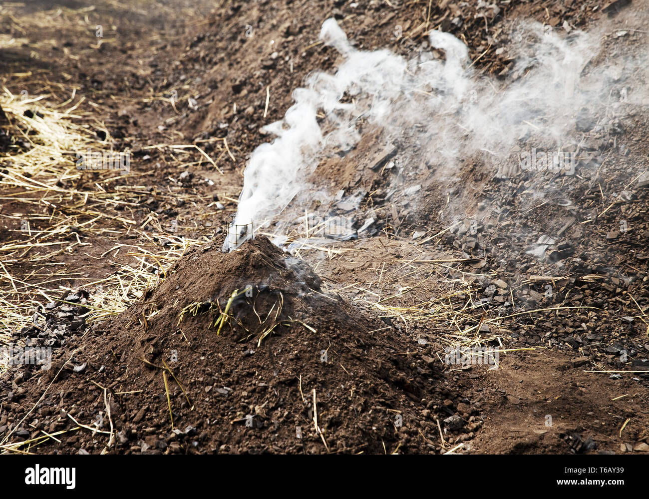 little smoking charcoal pile, Ennepetal, Ruhr Area, North Rhine-Westphalia, Germany - Stock Image