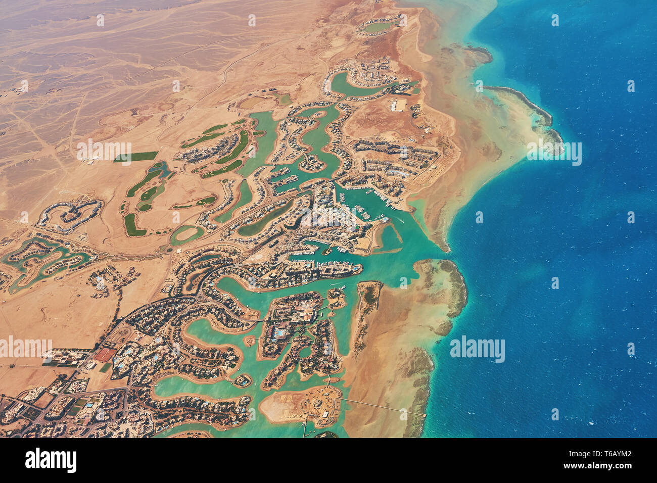 Aerial View Of El Gouna A Luxury Egyptian Tourist Resort Located On The Red Sea 20 Kilometres North Of Hurghada Stock Photo Alamy