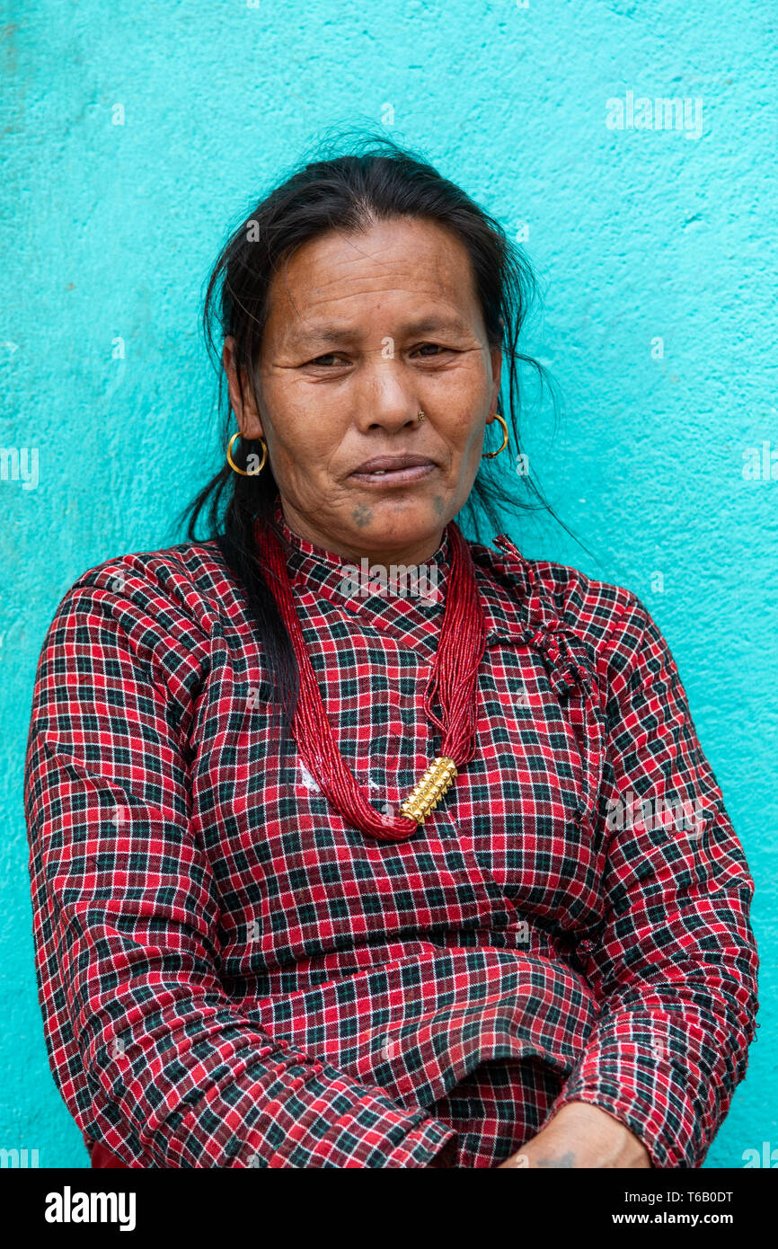 Kathmandu Valley / Nepal - April 15th, 2019 - Nepali 60 to 70 year old woman in a village in the valley. Stock Photo