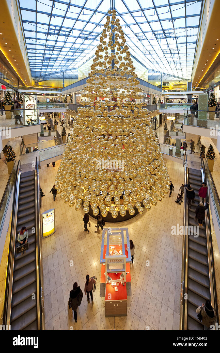 shopping center Thier-Gallerie with christmas decoration, Dortmund, Ruhr Area, Germany - Stock Image