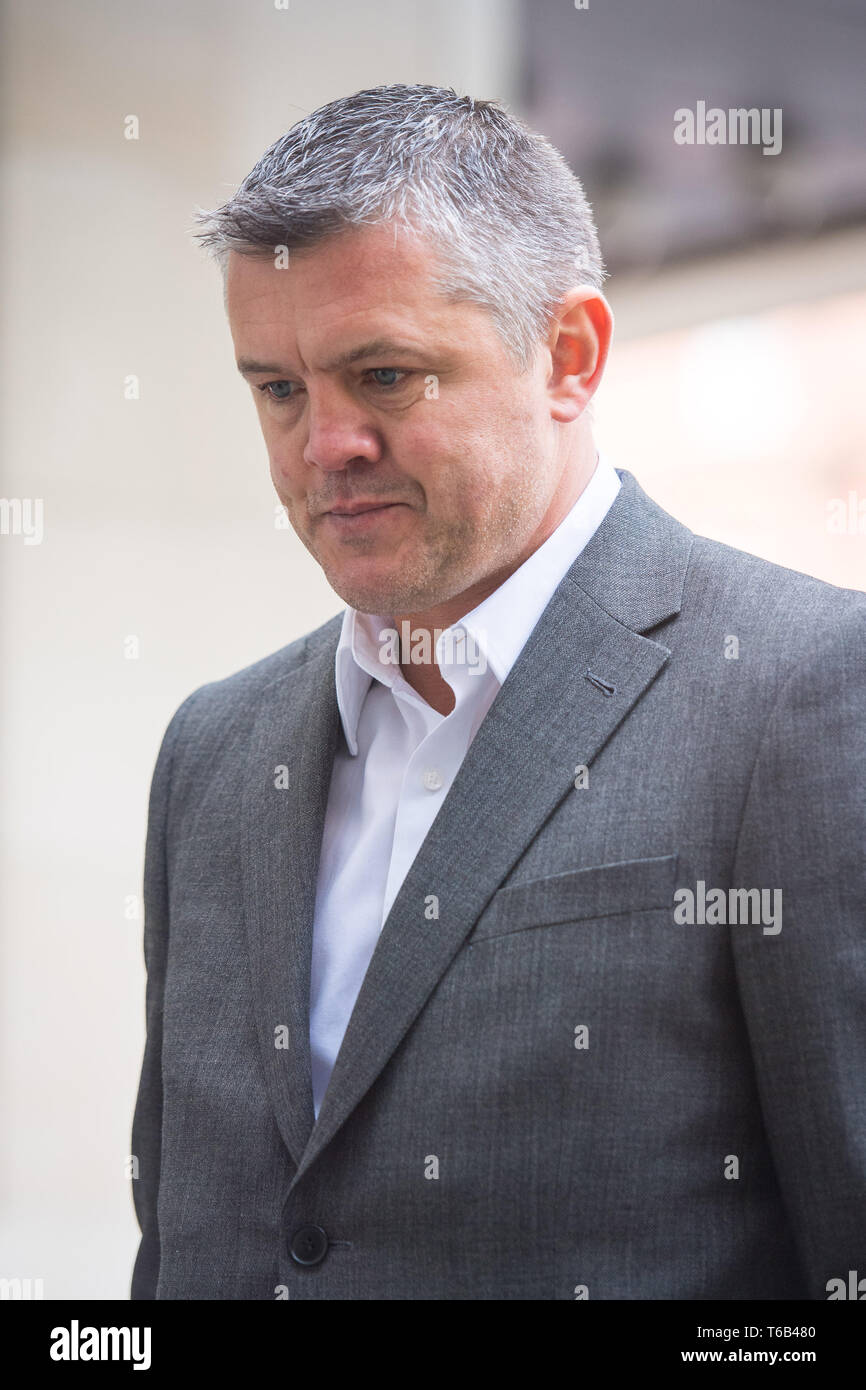 Paul Bussetti arriving at Westminster Magistrates Court, London, where he is charged with two counts of sending or causing to be sent grossly offensive material via a public communications network, after a video showing an effigy of the Grenfell Tower being burned was posted online. Stock Photo