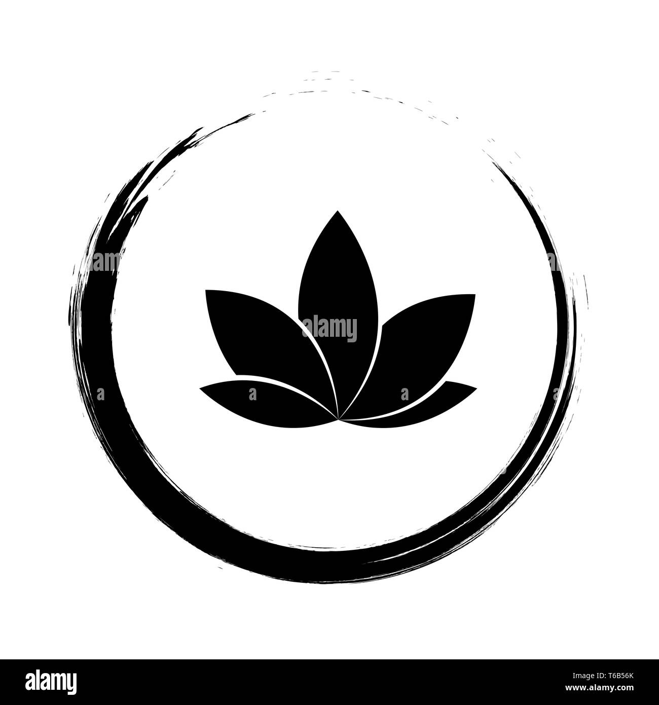 lotus flower in a cirlce vector illustration EPS10 - Stock Image