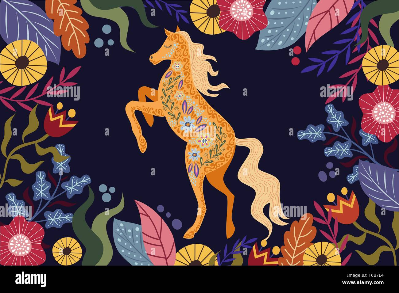 Art vector horizontal colorful illustration with beautiful abstract folk horse and flowers on a dark background. - Stock Vector