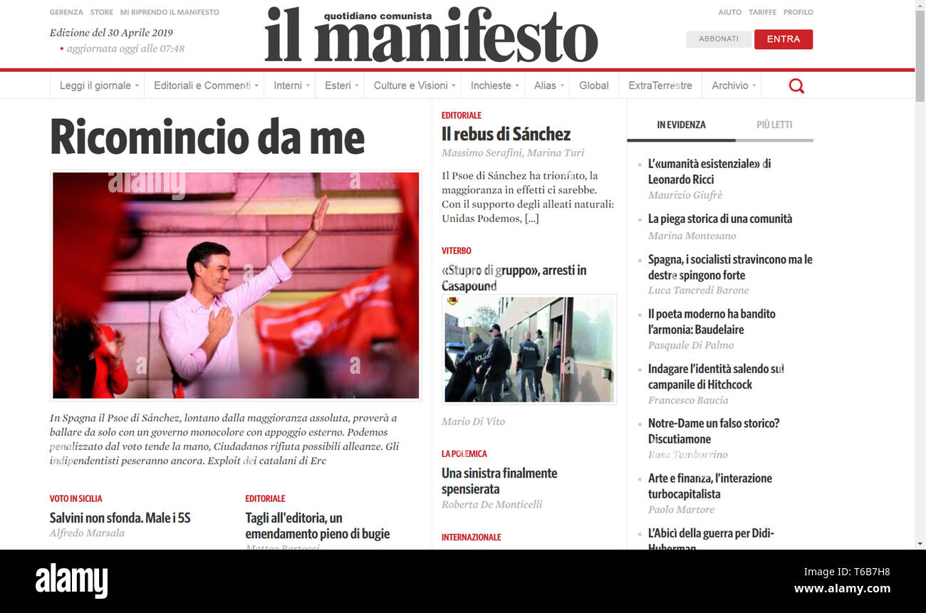 Il manifesto website homepage - Italy - Stock Image