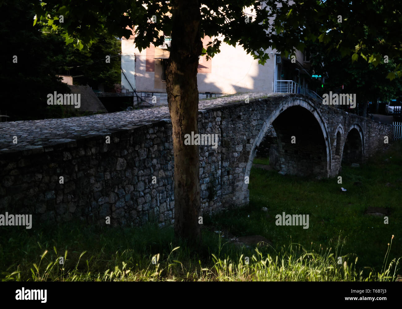 Exterioir view to Tanners Bridge near Lana river in tirana, Albania - Stock Image
