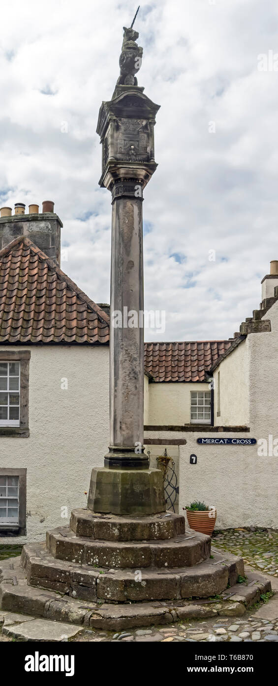 The Merkat Cross in NTS town The Royal Burgh of Culross Fife Scotland UK - Stock Image