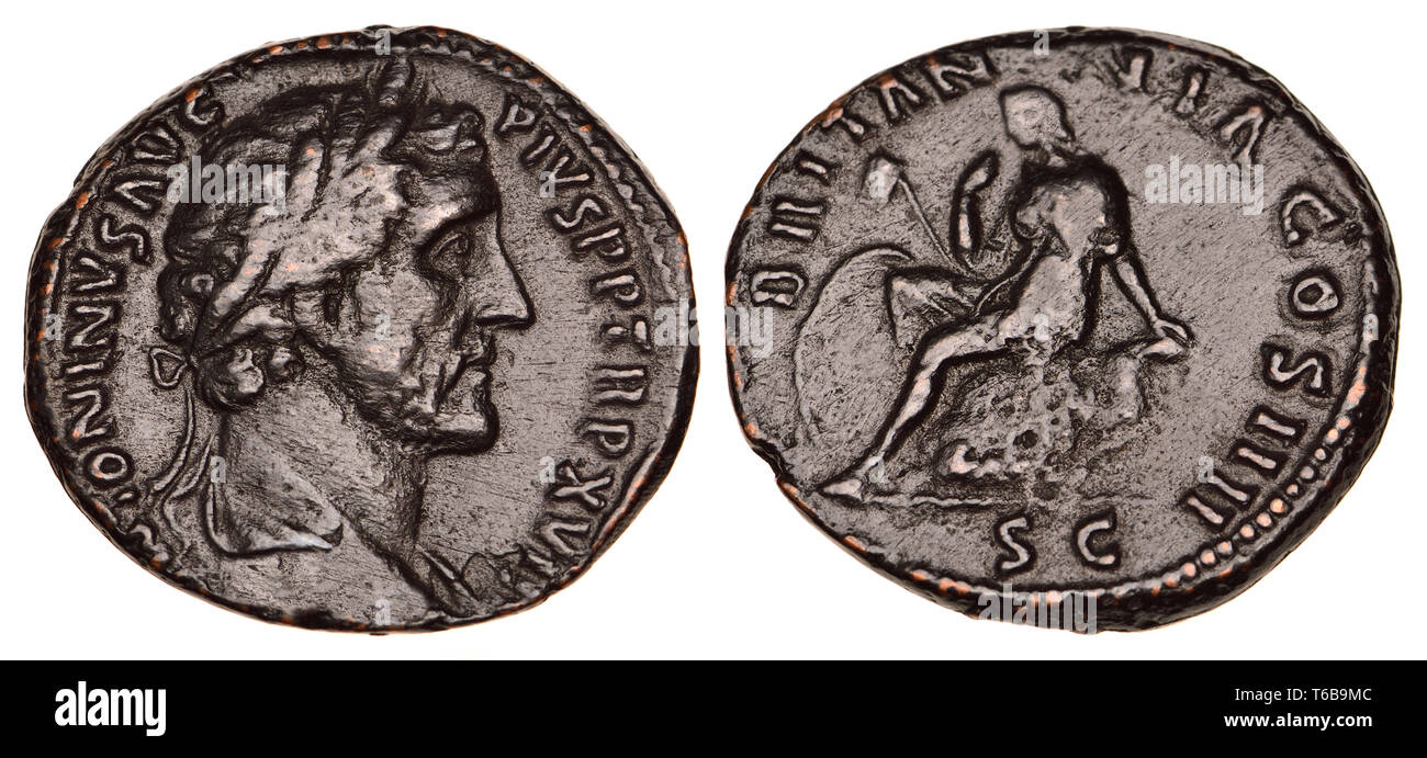 Roman Coin: Bronze Dupondius from the reign (AD138-161) of Antoninus Pius  (Replica) - Stock Image