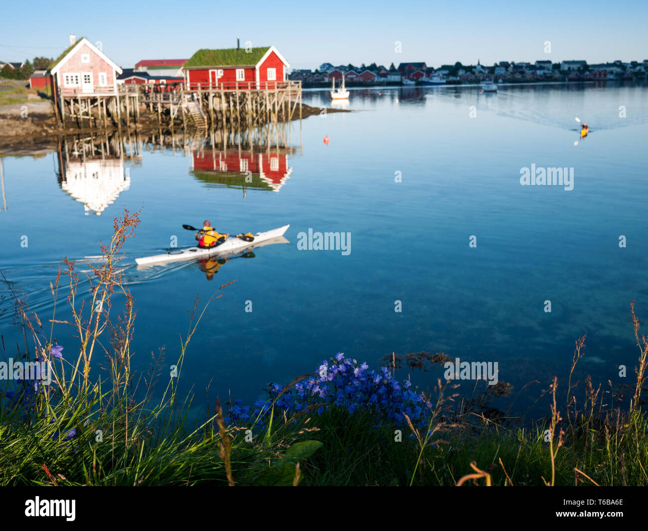 classic Norway view with rorbus and canoes Stock Photo