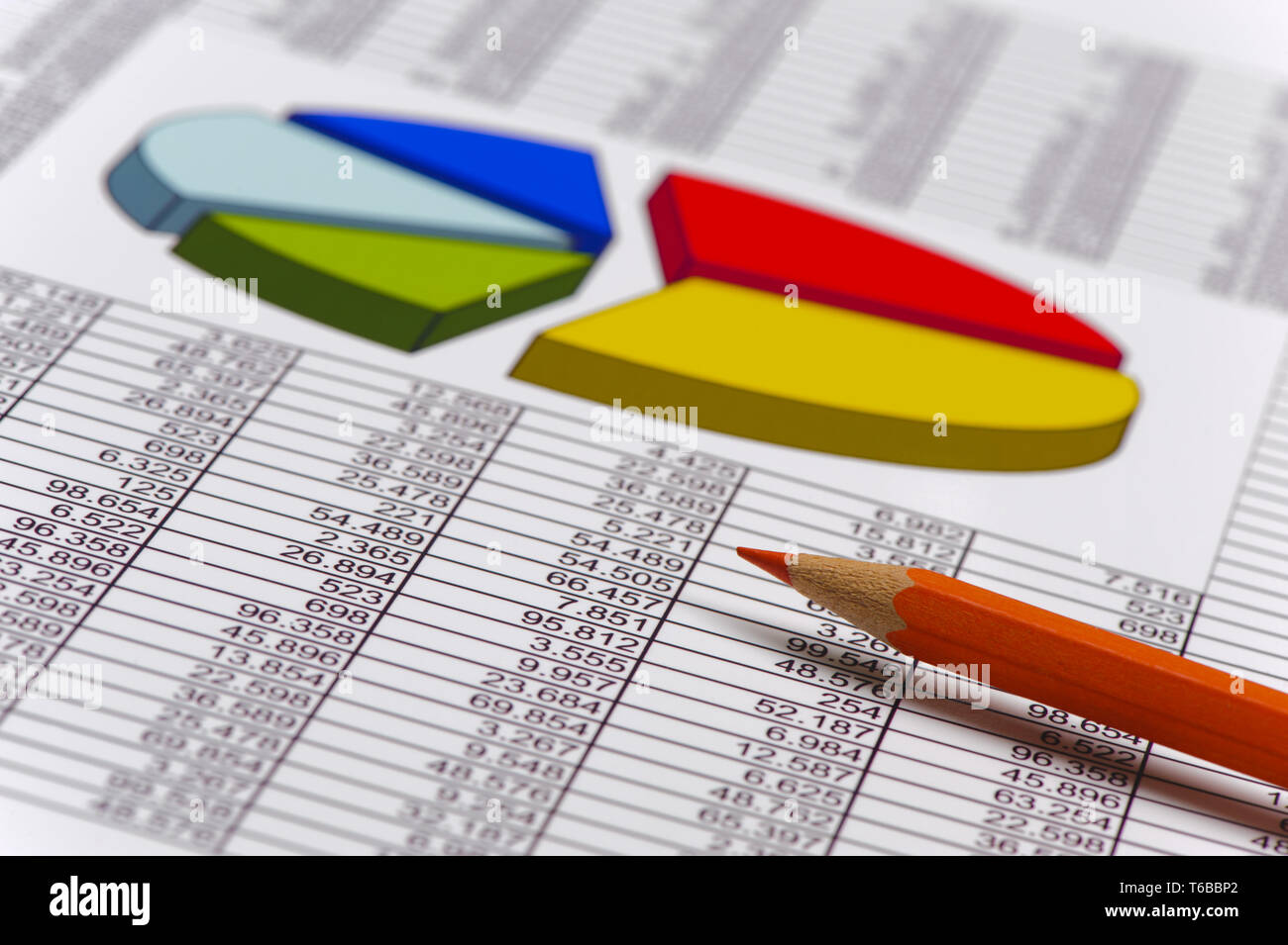finance and business with chart and calculator at stock market Stock Photo