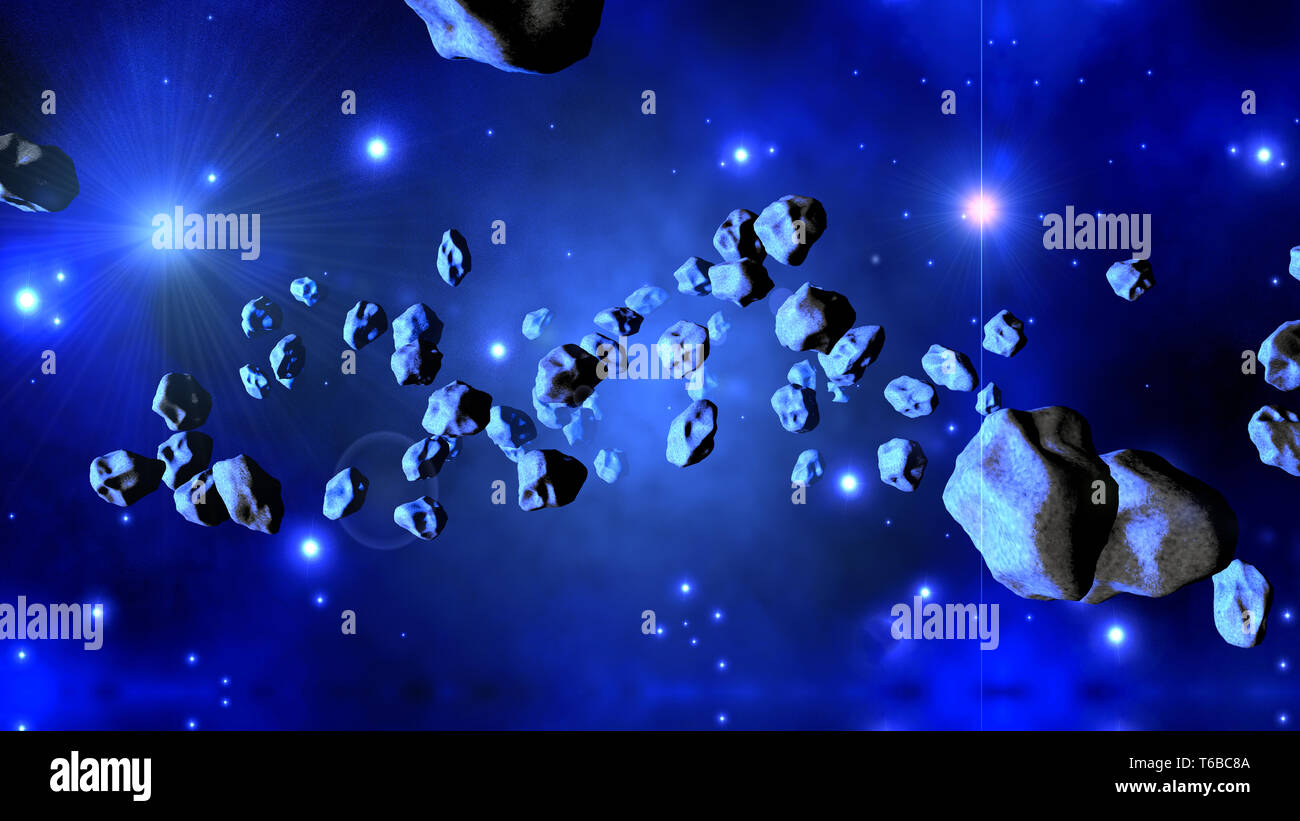3D Illustration of Asteroids floating in space. - Stock Image
