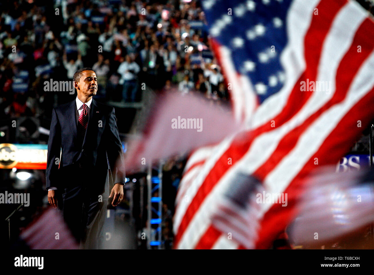 The DNC Convention in Denver. On the last day, Presidential Hopeful Barack Obama holds his acceptance speach at the Invesco Arena - Stock Image