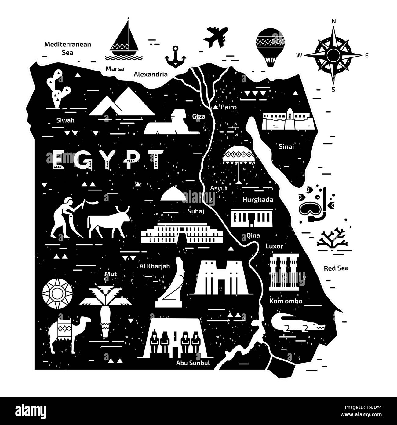 5ddcd2f00f071 Outline and silhouette map of Egypt - vector illustration hand drawn with  black lines, isolated