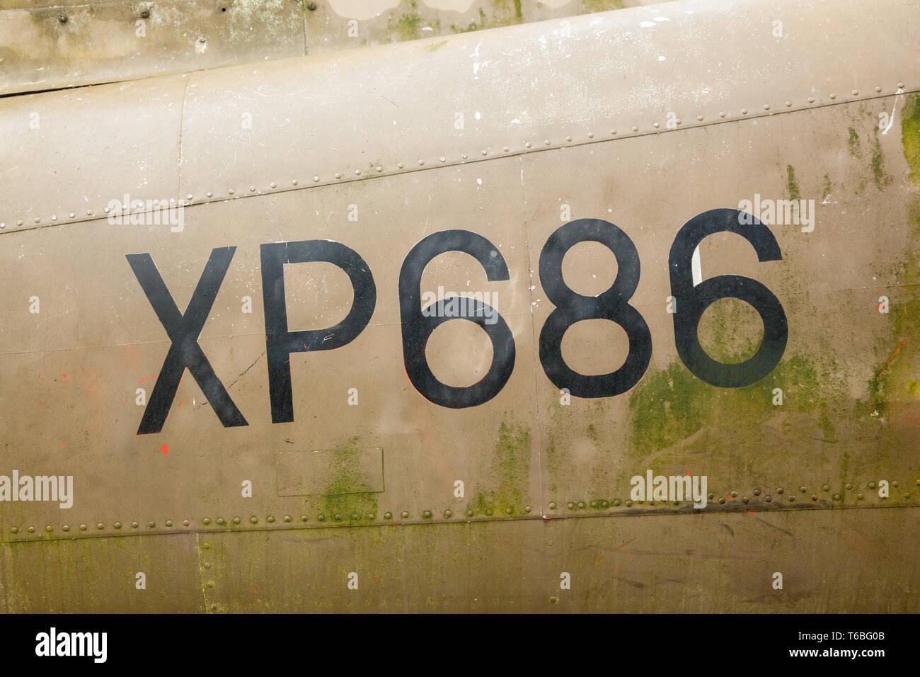 Hunting Percival Jet Provost Aircraft XP686, Medstead, Alton, Hampshire, England, United Kingdom. Stock Photo