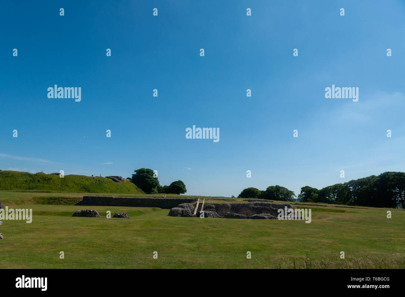 the ruins of the Old Sarum Castle. Salisbury, Wiltshire, England, UK Stock Photo