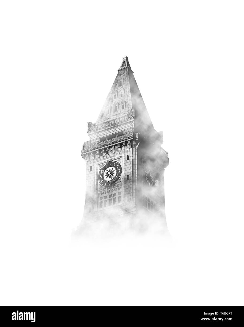 Big Ben in the sky with clouds in black and white - Stock Image