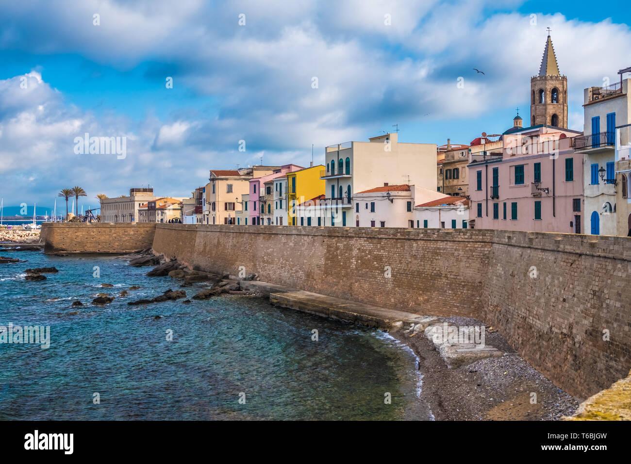 The old town of Alghero (L'Alguer), province of Sassari , northwestern Sardinia, Italy. - Stock Image