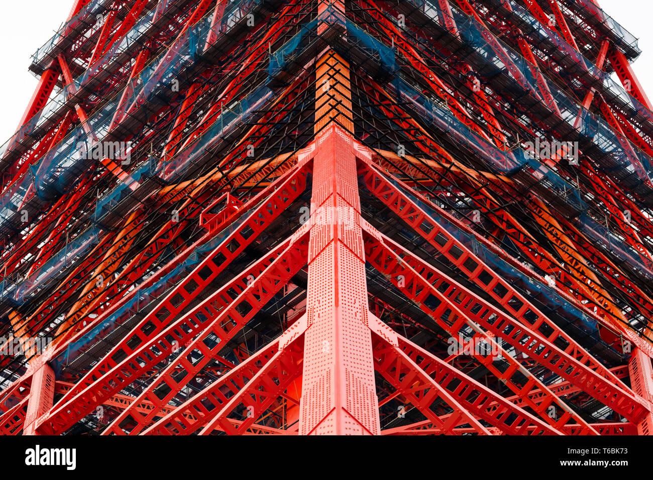 An up close intricate view of the base of Japan's iconic Tokyo Tower. - Stock Image