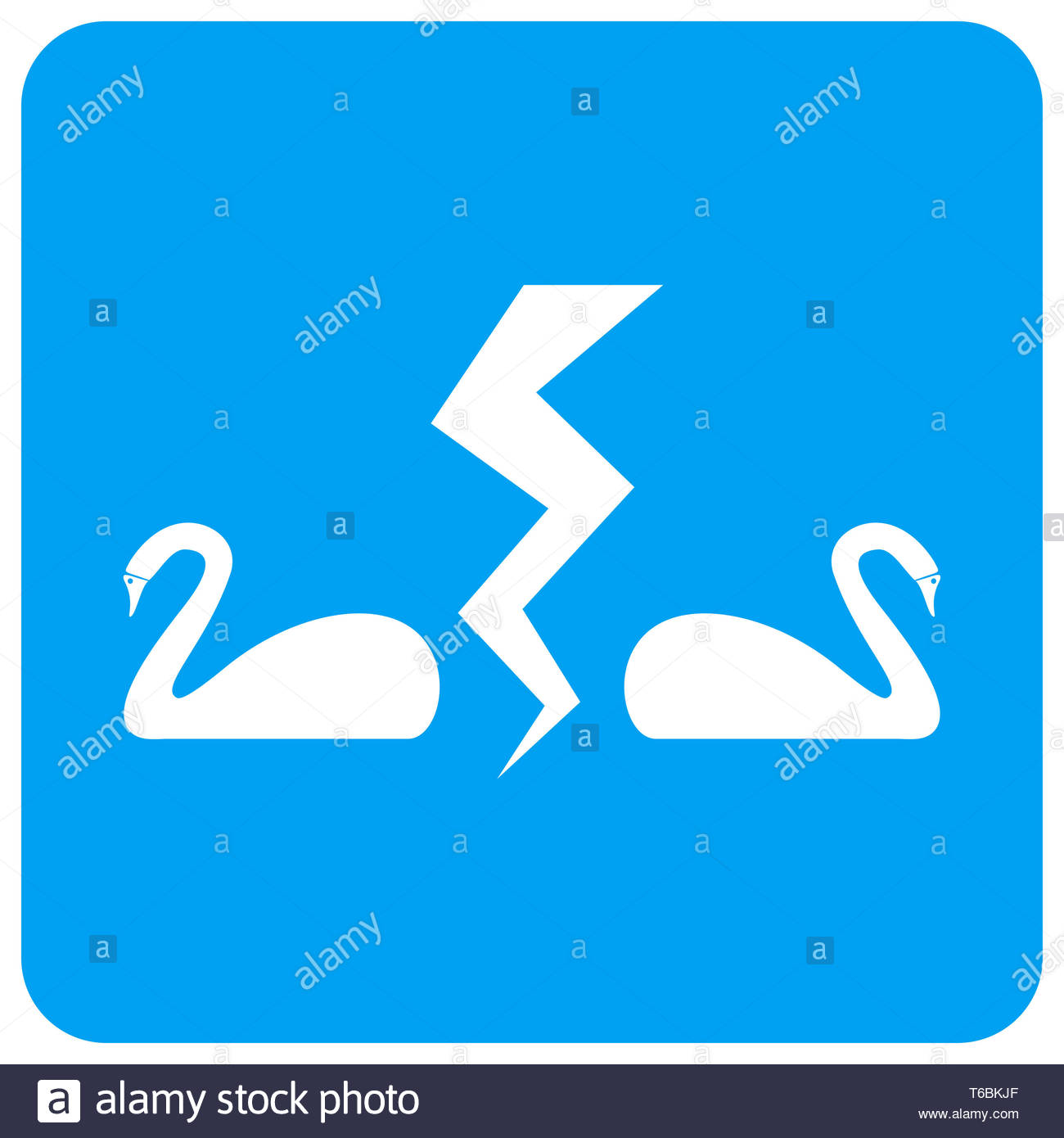 Divorce Swans Rounded Square Raster Icon Stock Photo