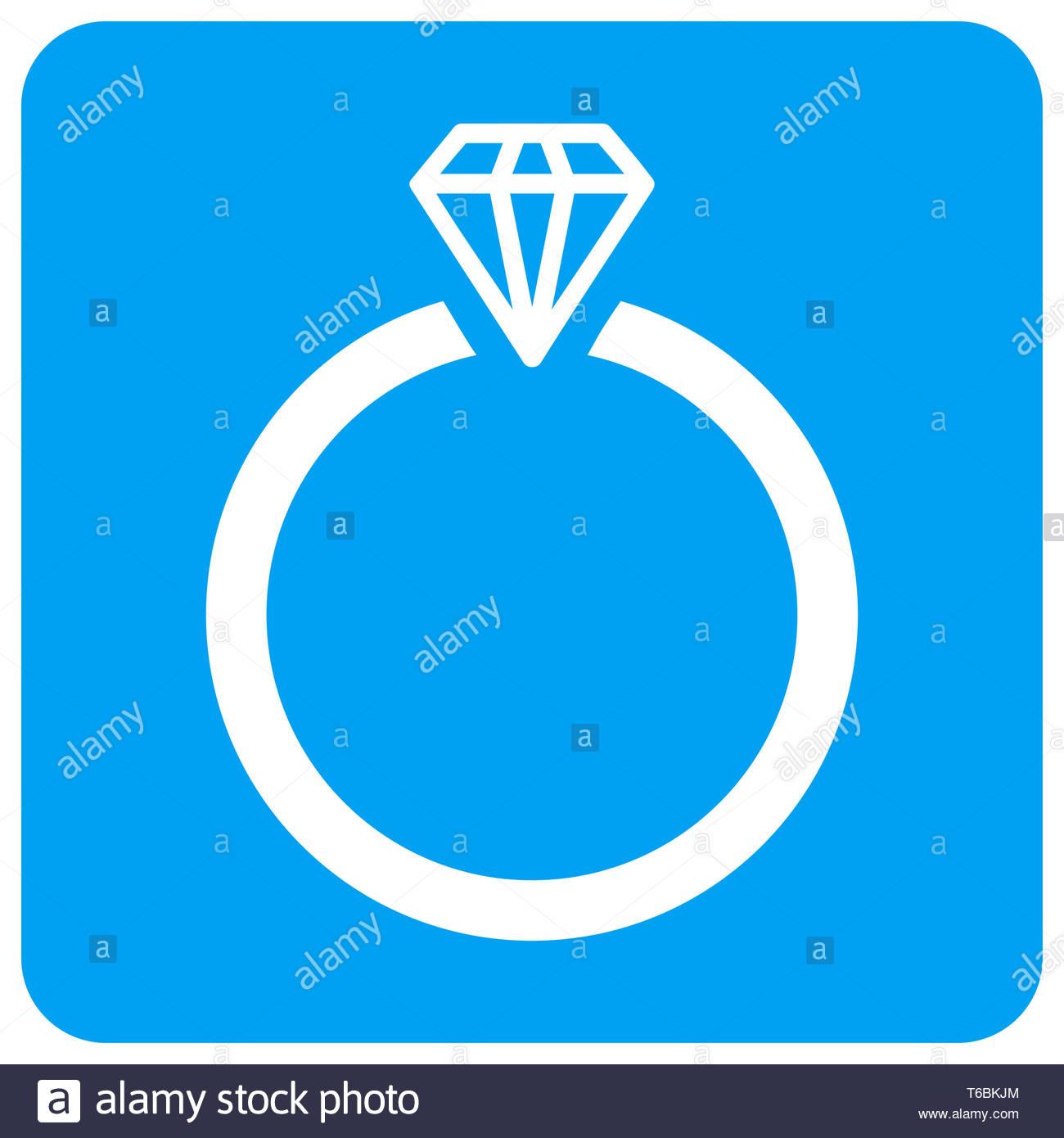Diamond Ring Rounded Square Raster Icon Stock Photo