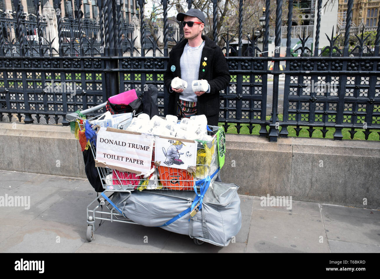 Anti Donald Trump protest outside House of Commons, London UK 29 April 2019 - Stock Image