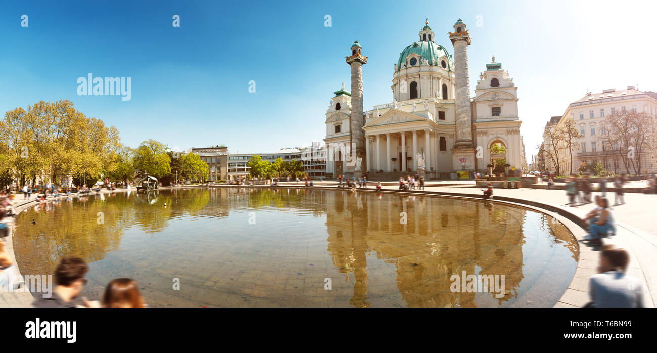 View to Saint Charles church in Vienna - Stock Image