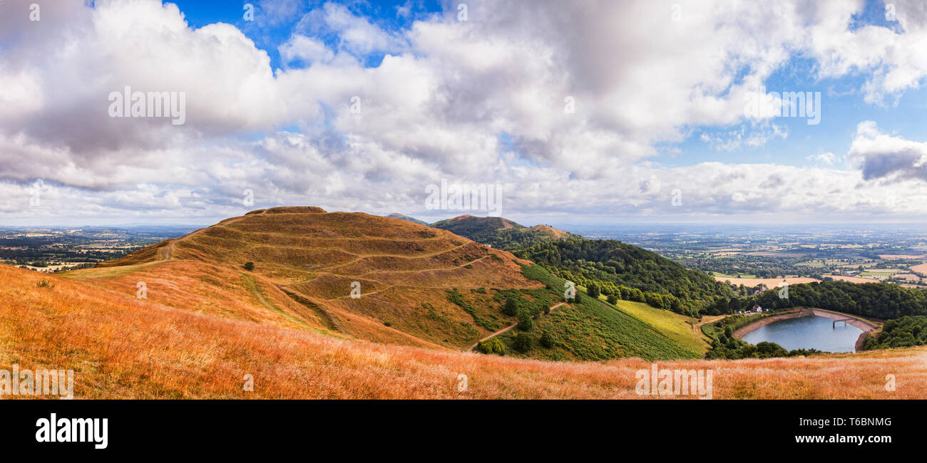 Herefordshire Beacon or British Camp from Millenium Hill in the Malvern Hills, Herefordshire and Worcestershire, England. - Stock Image