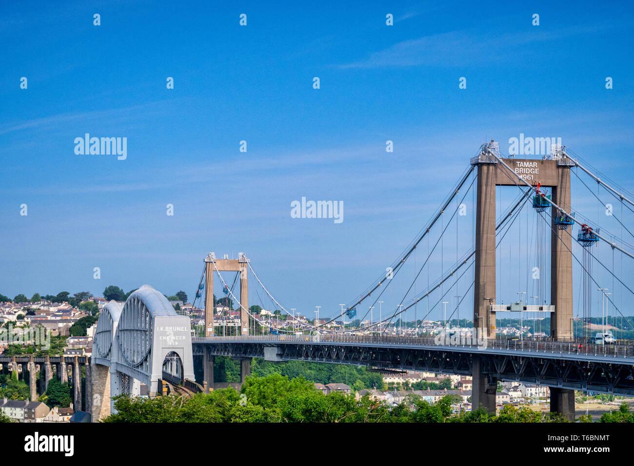 The Royal Albert Railway Bridge and beside it the Tamar Road Bridge, Saltash, Plymouth, Devon, UK Stock Photo