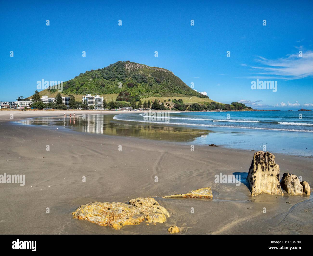 16 December 2018: Mount Maunganui, New Zealand - Mount Maunganui and the main beach Stock Photo