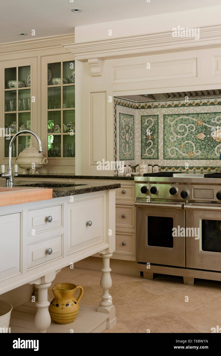 Country Style Kitchen With An Island Stock Photo 244894209 Alamy