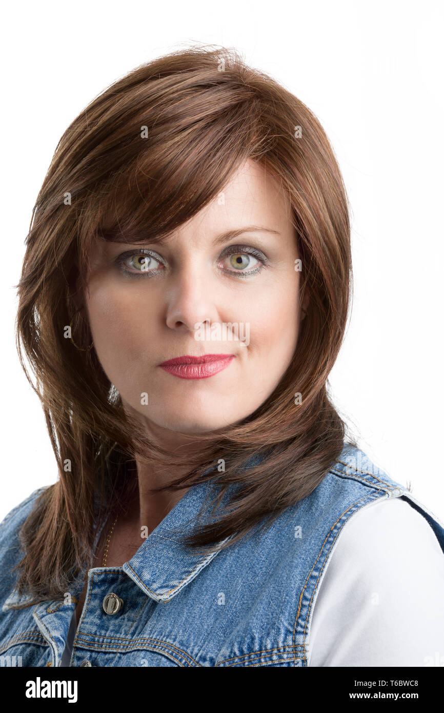 beautiful middle age woman cancer patient with wig Stock Photo