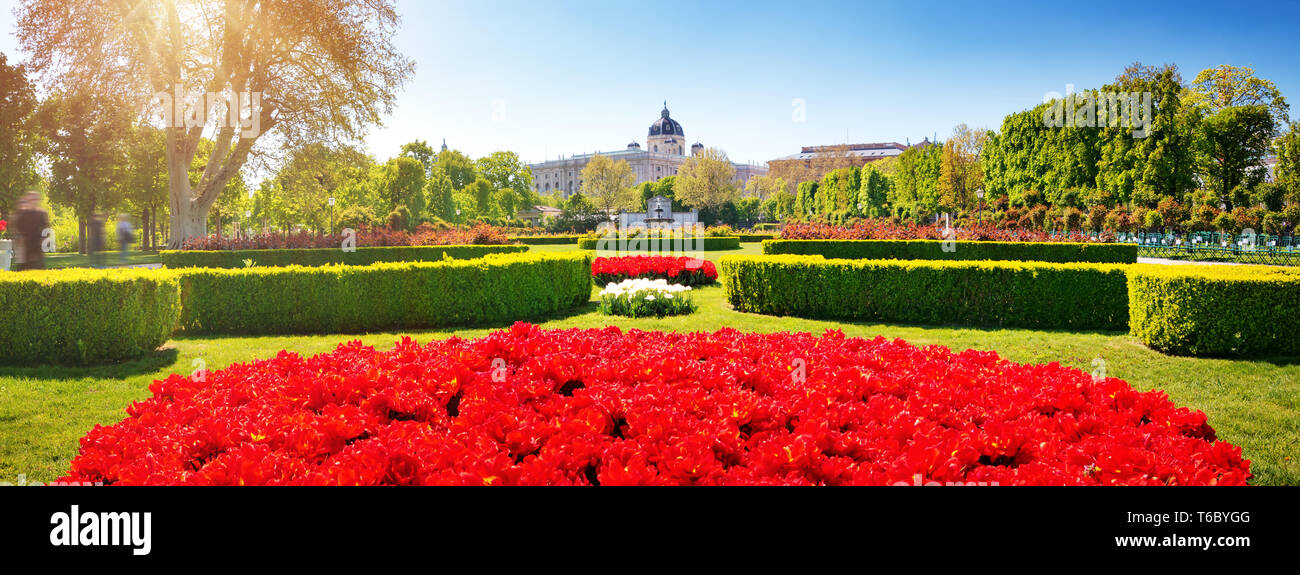 View to Volksgarten and National History Museum in Vienna - Stock Image