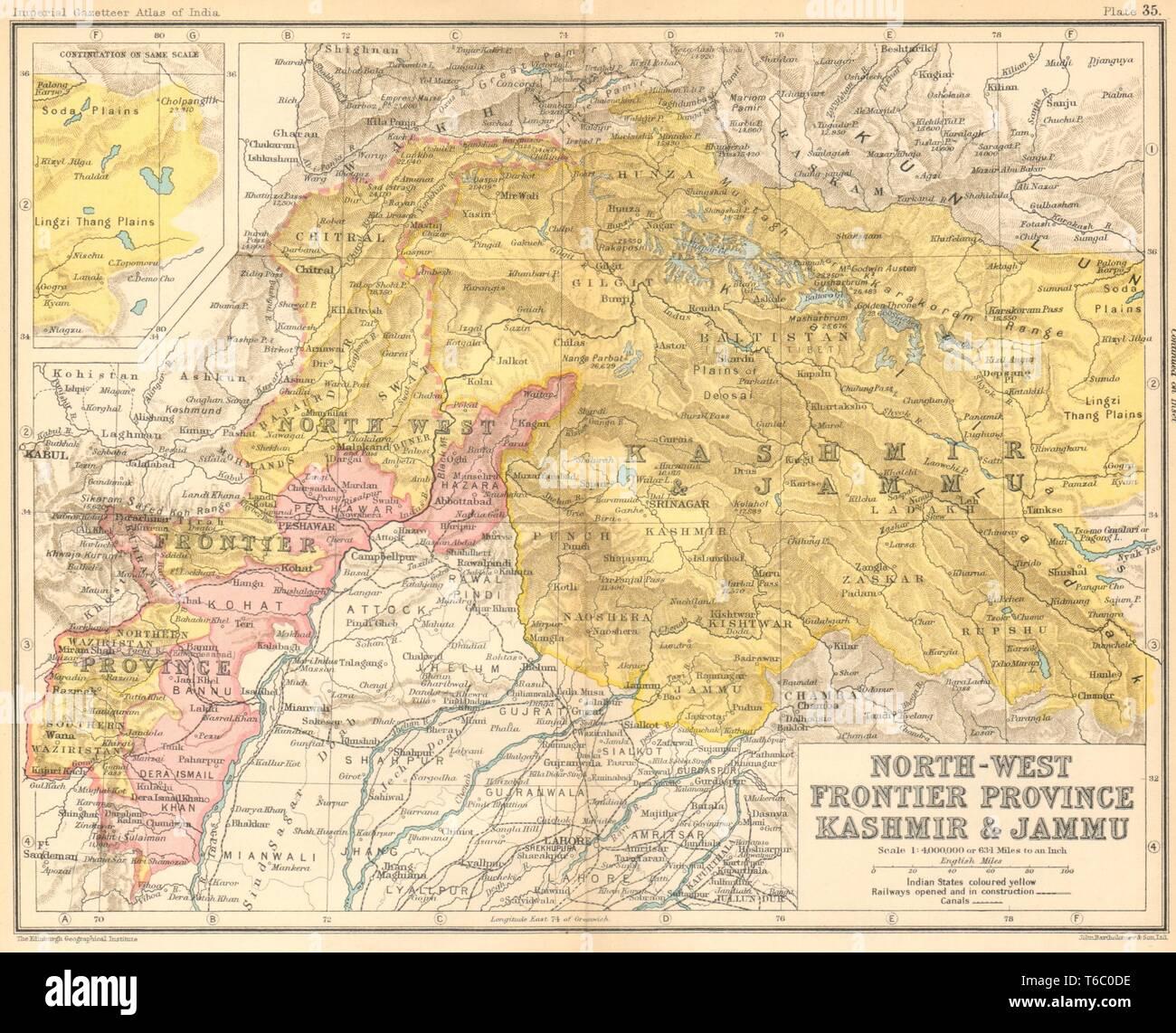 North-West Frontier Province, Jammu & Kashmir'  British