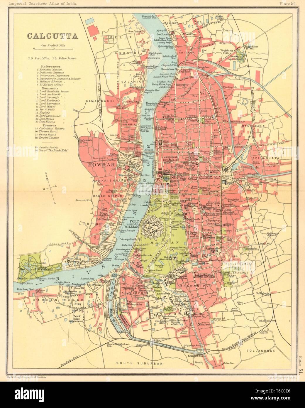 Calcutta / Kolkata town city plan. Fort William. British India 1931 on