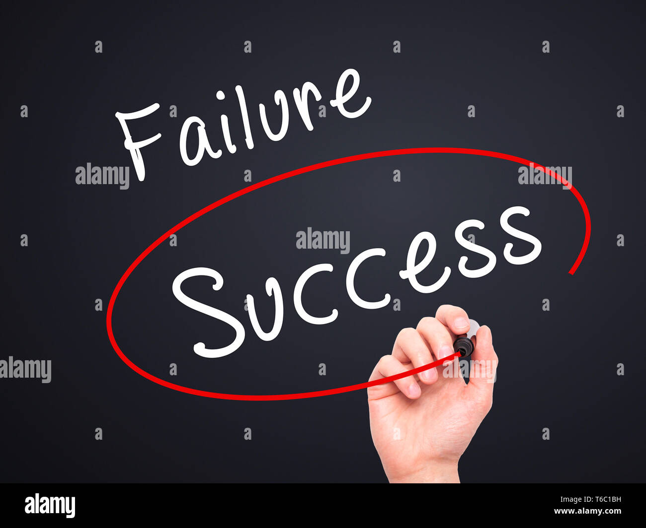 Man Hand writing and choosing, Success instead of Failure, with black marker on visual screen - Stock Image
