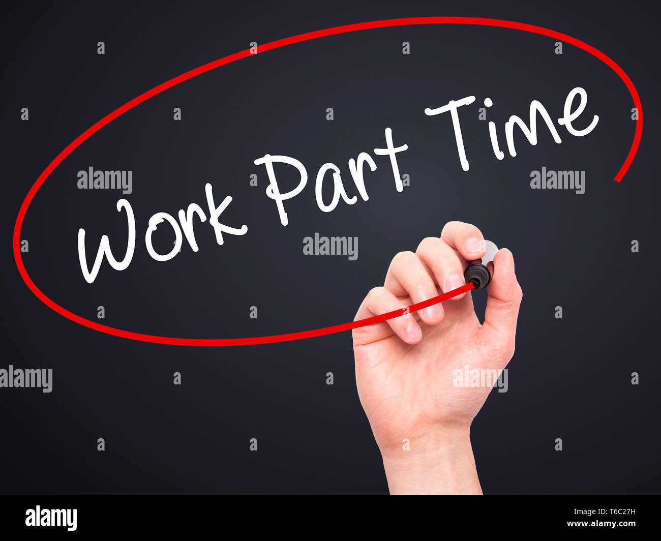 Man Hand writing Work Part Time with black marker on visual screen - Stock Image