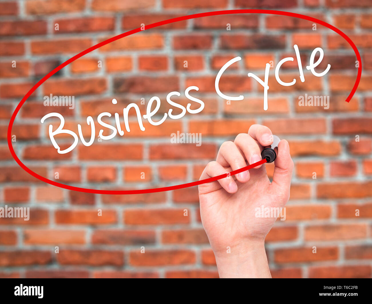 Man Hand writing Business Cycle with black marker on visual screen. - Stock Image