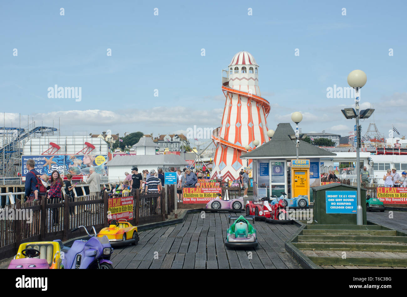 Clacton holiday pier with Helter Skelter - Stock Image