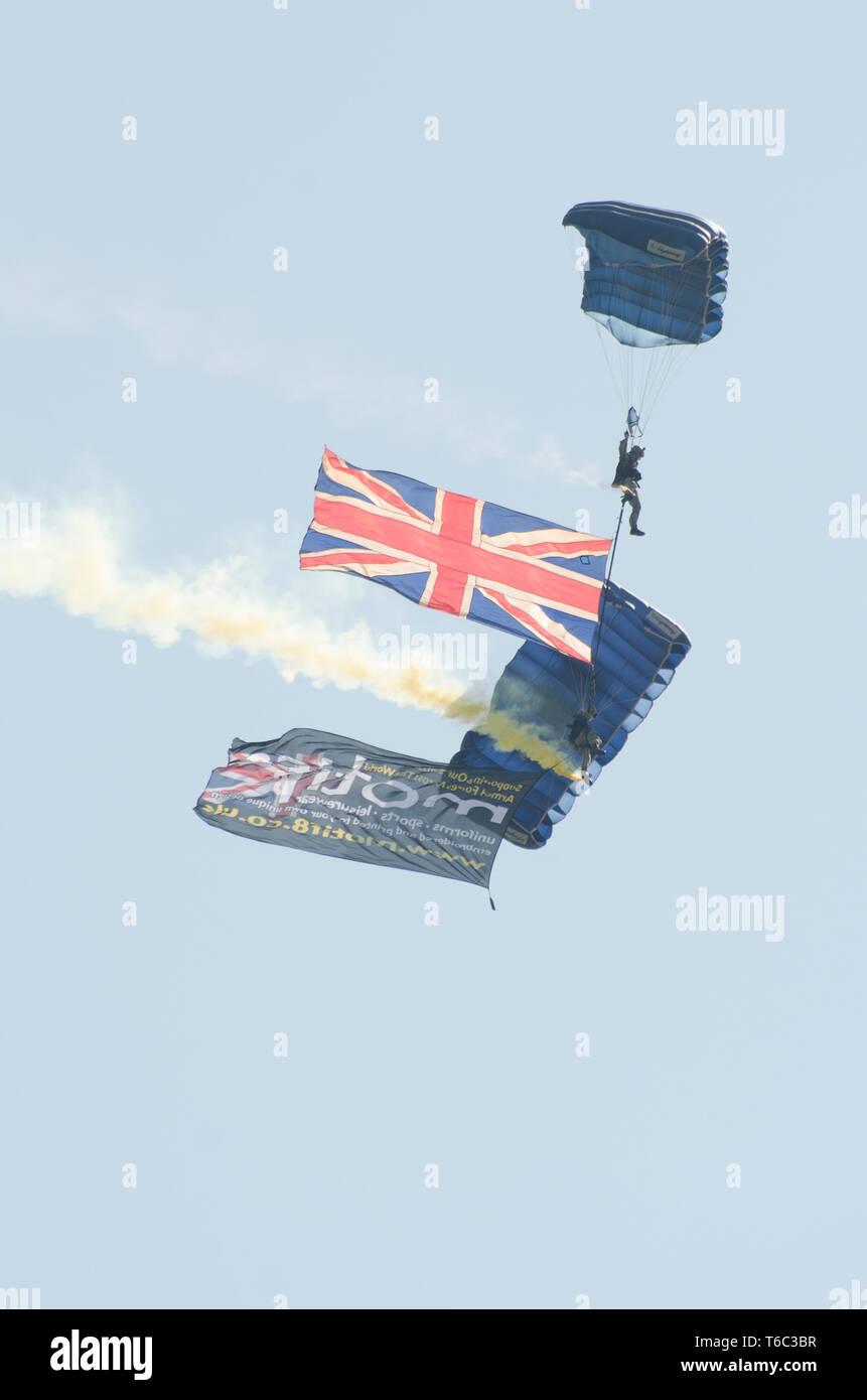 British Army Parachutists at Clacton free airshow - Stock Image