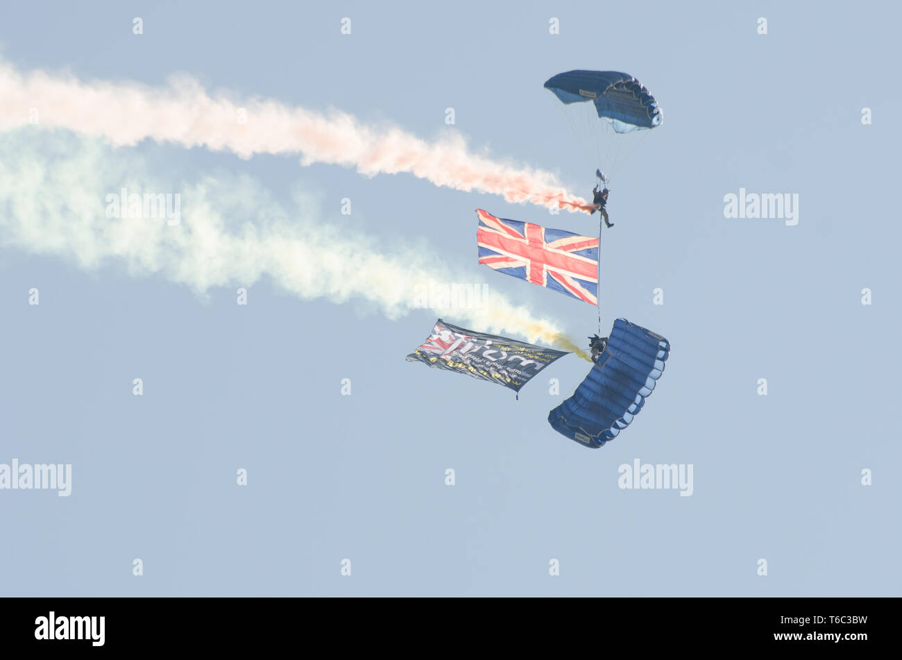 British Army Parachutists above Clacton free airshow - Stock Image