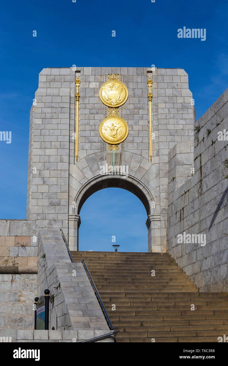 Gibraltar, Line Wall Road, American War Memorial Stock Photo