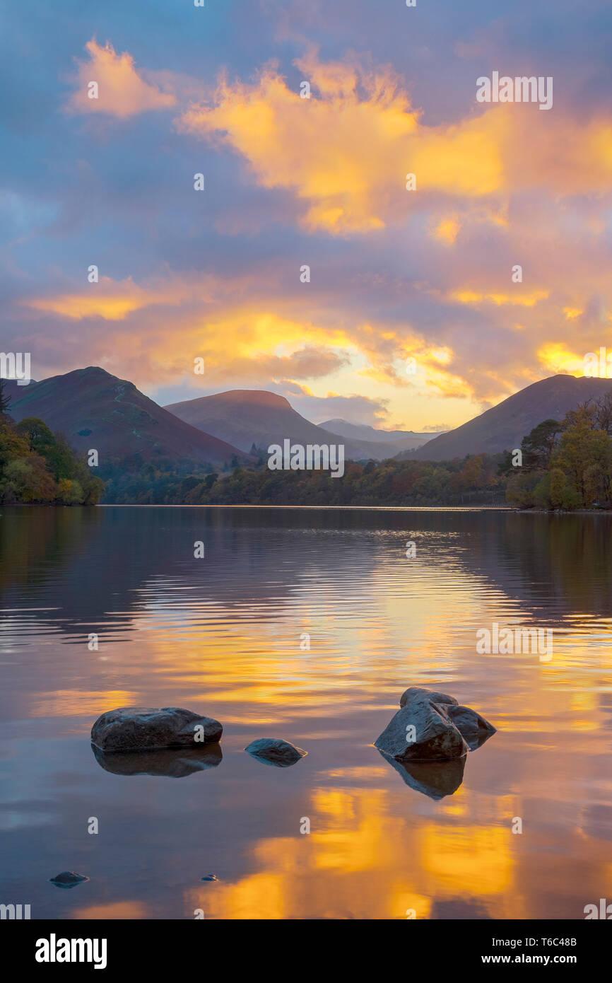 UK, Cumbria, Lake District, Keswick, Derwentwater, Derwent Isle Stock Photo