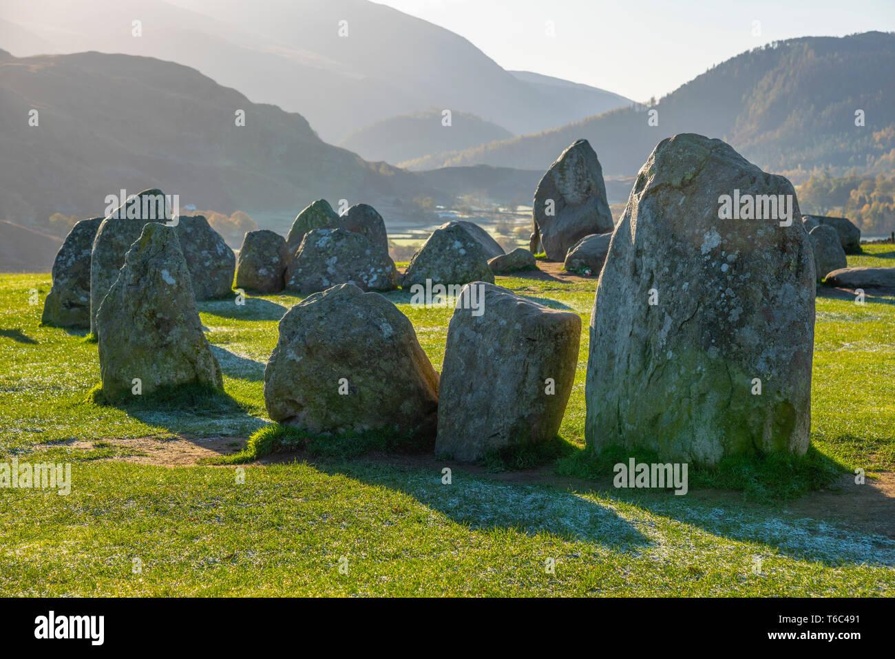 UK, Cumbria, Lake District, Castlerigg Stone Circle Stock Photo