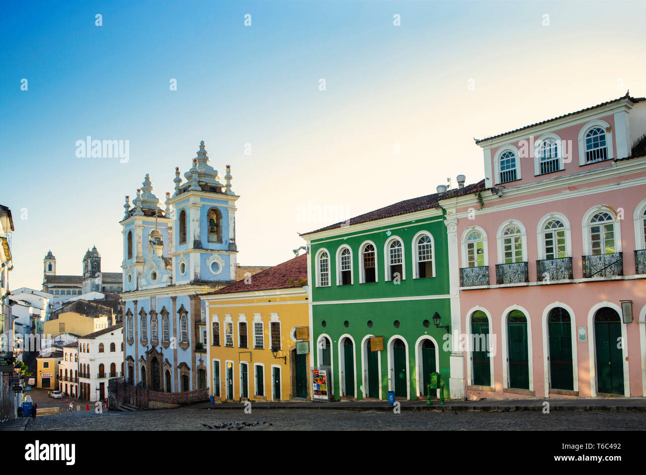 the Pelourinho showing Portuguese colonial buildings and the Church of the Third Order of Our Lady of the Rosary of the Black People - Stock Image