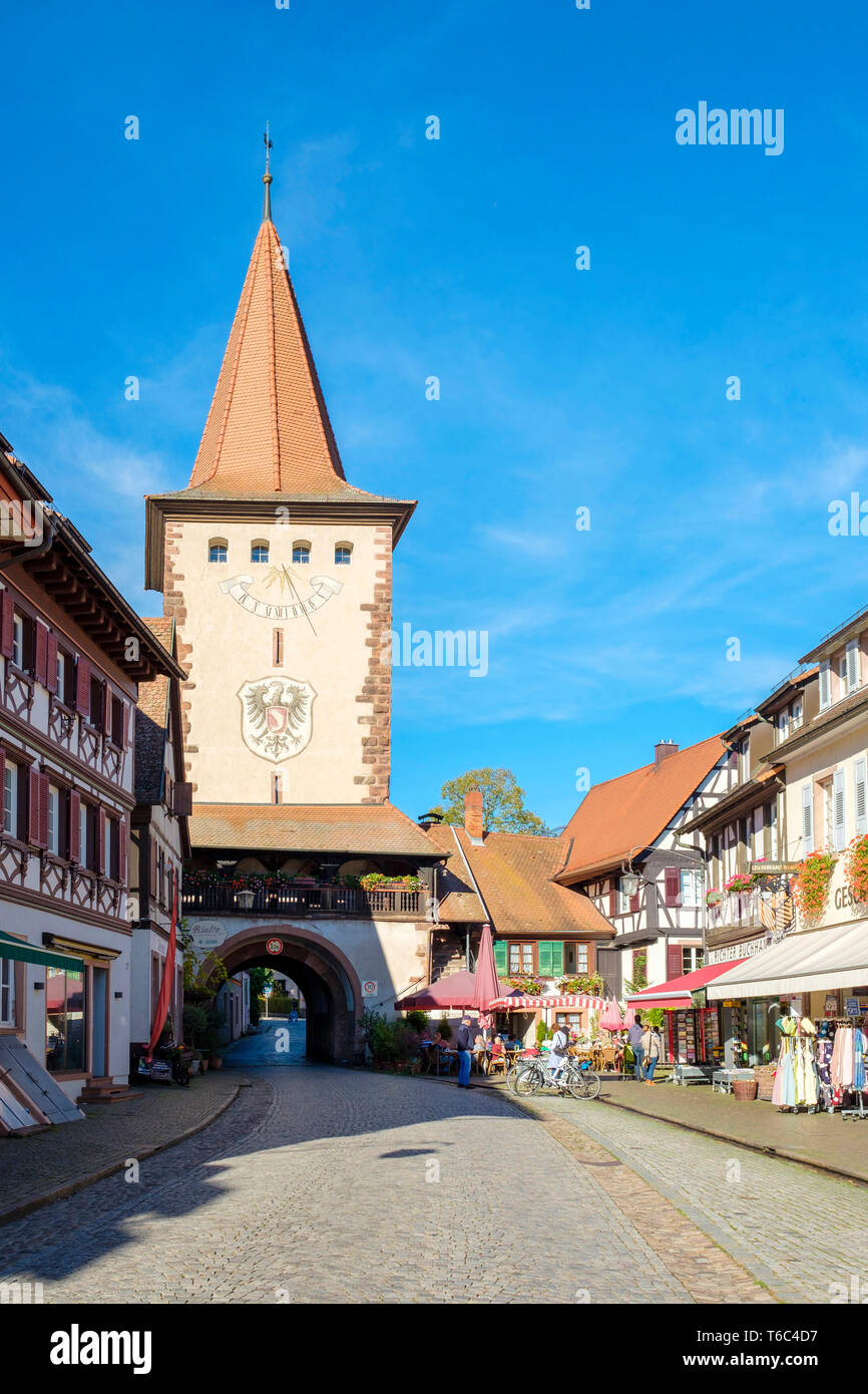 Obertorturm tower in Gengenbach altstadt old town, Gegenbach, Baden-Württemberg, Germany, Europe - Stock Image
